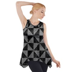 Triangle1 Black Marble & Gray Leather Side Drop Tank Tunic