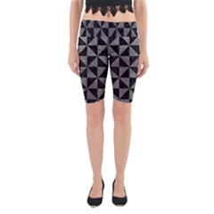 Triangle1 Black Marble & Gray Leather Yoga Cropped Leggings