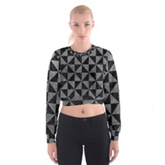 Triangle1 Black Marble & Gray Leather Cropped Sweatshirt