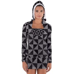 Triangle1 Black Marble & Gray Leather Long Sleeve Hooded T Shirt