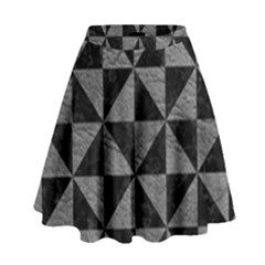 Triangle1 Black Marble & Gray Leather High Waist Skirt