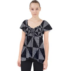 Triangle1 Black Marble & Gray Leather Lace Front Dolly Top