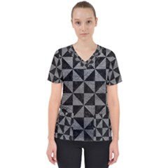 Triangle1 Black Marble & Gray Leather Scrub Top
