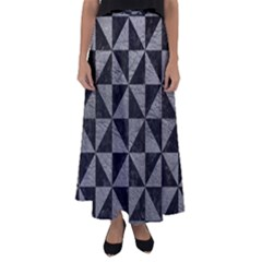 Triangle1 Black Marble & Gray Leather Flared Maxi Skirt