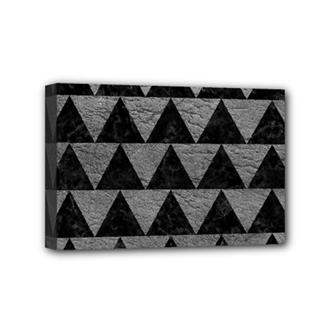 Triangle2 Black Marble & Gray Leather Mini Canvas 6  X 4