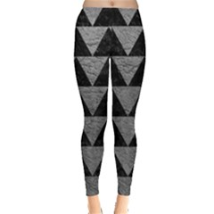 Triangle2 Black Marble & Gray Leather Leggings
