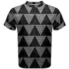 Triangle2 Black Marble & Gray Leather Men s Cotton Tee