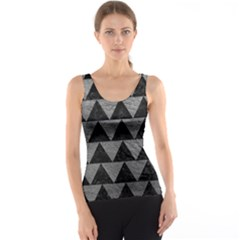 Triangle2 Black Marble & Gray Leather Tank Top