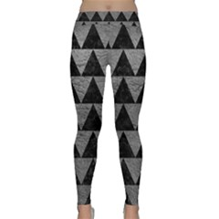 Triangle2 Black Marble & Gray Leather Classic Yoga Leggings