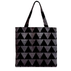 Triangle2 Black Marble & Gray Leather Zipper Grocery Tote Bag