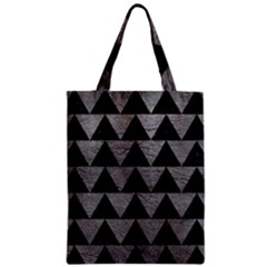 Triangle2 Black Marble & Gray Leather Zipper Classic Tote Bag