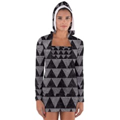 Triangle2 Black Marble & Gray Leather Long Sleeve Hooded T Shirt