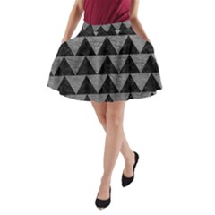 Triangle2 Black Marble & Gray Leather A Line Pocket Skirt