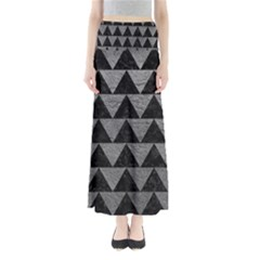 Triangle2 Black Marble & Gray Leather Full Length Maxi Skirt