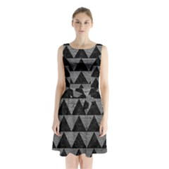 Triangle2 Black Marble & Gray Leather Sleeveless Waist Tie Chiffon Dress