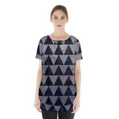 Triangle2 Black Marble & Gray Leather Skirt Hem Sports Top
