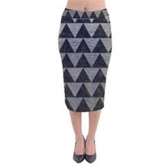 Triangle2 Black Marble & Gray Leather Velvet Midi Pencil Skirt