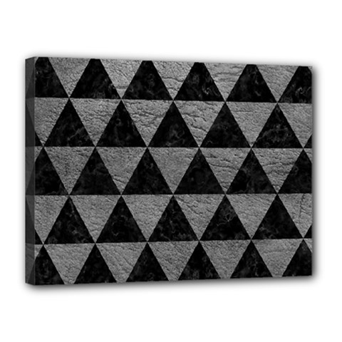 Triangle3 Black Marble & Gray Leather Canvas 16  X 12