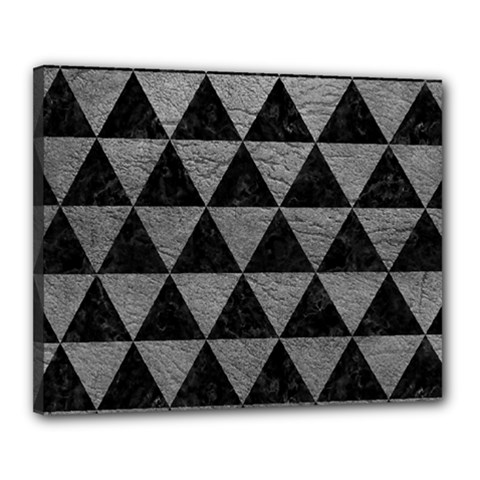 Triangle3 Black Marble & Gray Leather Canvas 20  X 16
