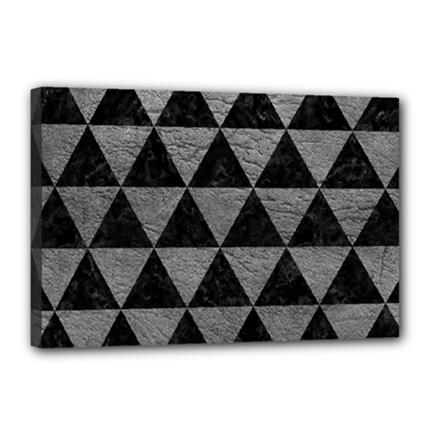 Triangle3 Black Marble & Gray Leather Canvas 18  X 12