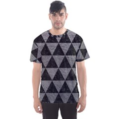 Triangle3 Black Marble & Gray Leather Men s Sports Mesh Tee