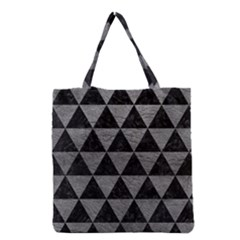 Triangle3 Black Marble & Gray Leather Grocery Tote Bag