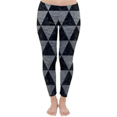 Triangle3 Black Marble & Gray Leather Classic Winter Leggings