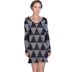Triangle3 Black Marble & Gray Leather Long Sleeve Nightdress