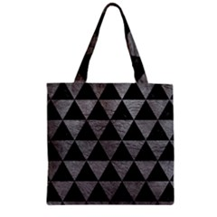Triangle3 Black Marble & Gray Leather Zipper Grocery Tote Bag