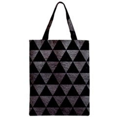 Triangle3 Black Marble & Gray Leather Zipper Classic Tote Bag