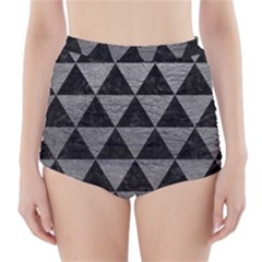 Triangle3 Black Marble & Gray Leather High Waisted Bikini Bottoms
