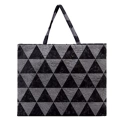Triangle3 Black Marble & Gray Leather Zipper Large Tote Bag