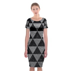 Triangle3 Black Marble & Gray Leather Classic Short Sleeve Midi Dress