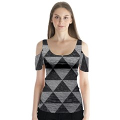 Triangle3 Black Marble & Gray Leather Butterfly Sleeve Cutout Tee