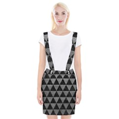 Triangle3 Black Marble & Gray Leather Braces Suspender Skirt