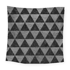 Triangle3 Black Marble & Gray Leather Square Tapestry (large)