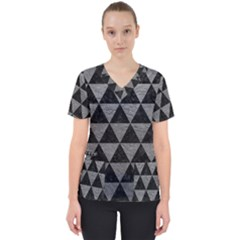 Triangle3 Black Marble & Gray Leather Scrub Top