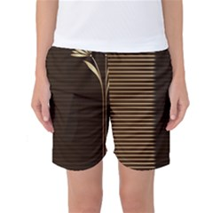 Gold Floral Art Nouveau Women s Basketball Shorts