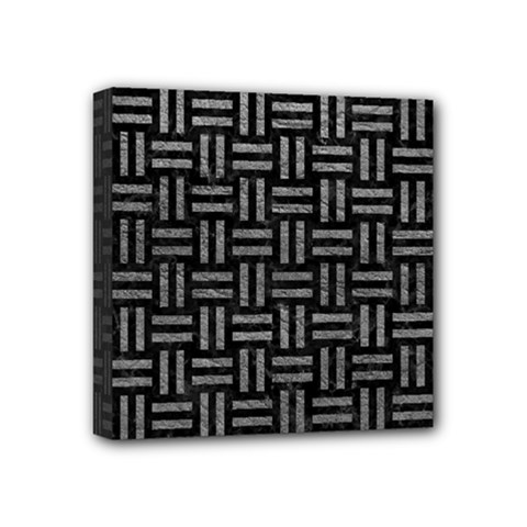 Woven1 Black Marble & Gray Leather Mini Canvas 4  X 4