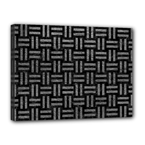 Woven1 Black Marble & Gray Leather Canvas 16  X 12