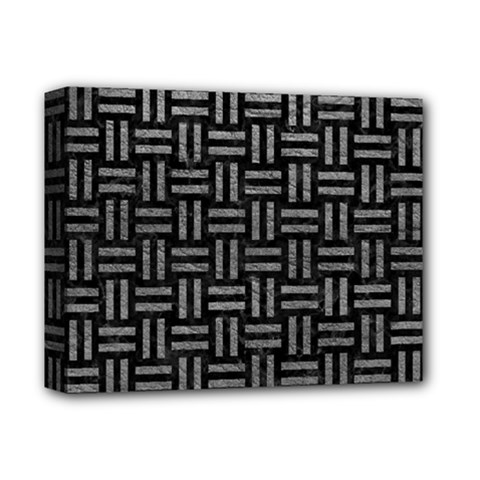 Woven1 Black Marble & Gray Leather Deluxe Canvas 14  X 11