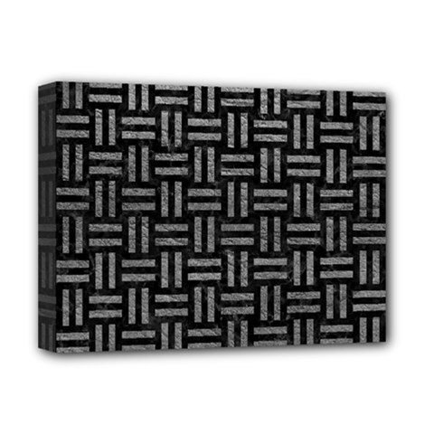 Woven1 Black Marble & Gray Leather Deluxe Canvas 16  X 12