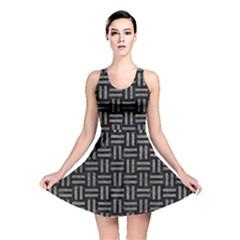 Woven1 Black Marble & Gray Leather Reversible Skater Dress