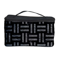 Woven1 Black Marble & Gray Leather Cosmetic Storage Case
