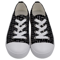 Woven1 Black Marble & Gray Leather Kids  Low Top Canvas Sneakers