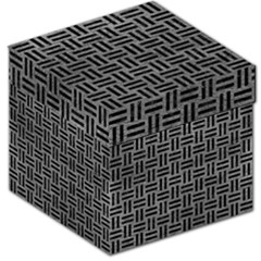 Woven1 Black Marble & Gray Leather (r) Storage Stool 12