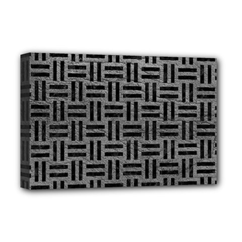 Woven1 Black Marble & Gray Leather (r) Deluxe Canvas 18  X 12