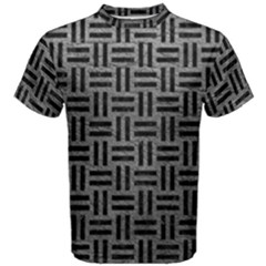 Woven1 Black Marble & Gray Leather (r) Men s Cotton Tee