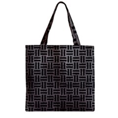 Woven1 Black Marble & Gray Leather (r) Zipper Grocery Tote Bag