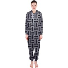 Woven1 Black Marble & Gray Leather (r) Hooded Jumpsuit (ladies)